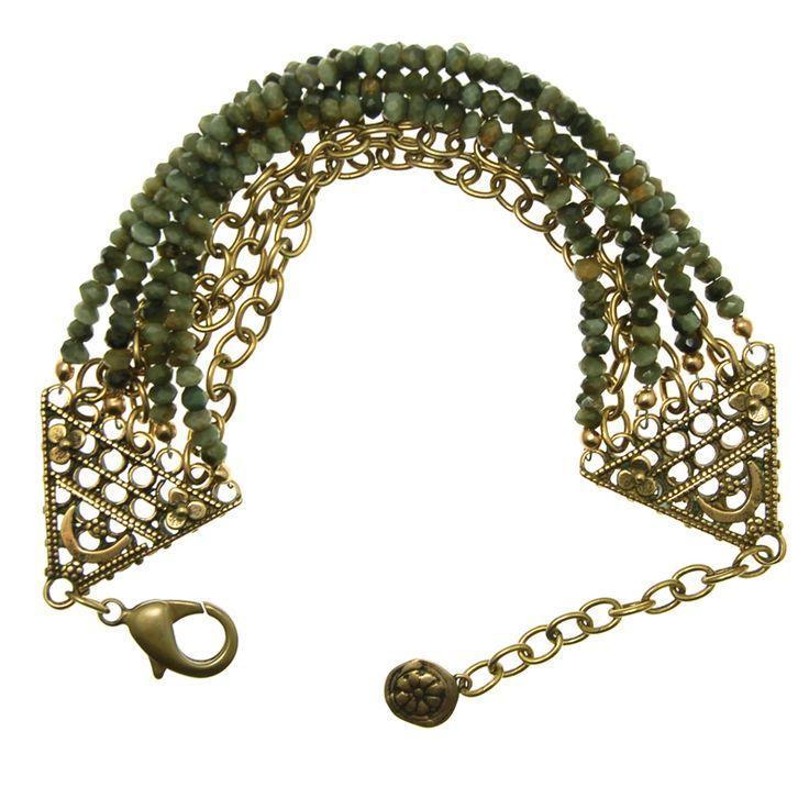 Green Cat's-eye Bracelet (B366LJ) $225