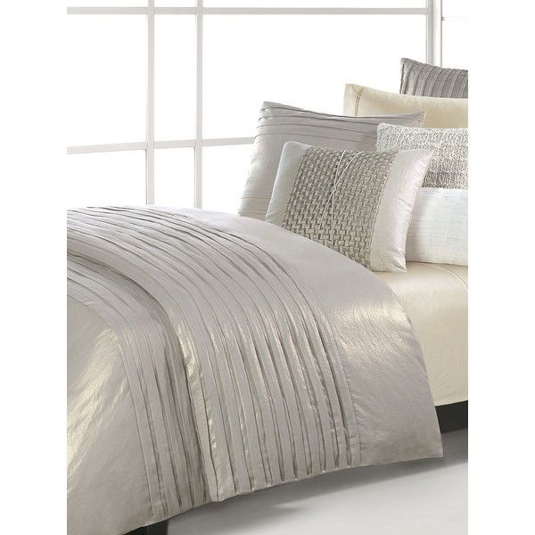 Natori Soho Duvet Cover (6 770 ZAR) ❤ liked on Polyvore featuring home, bed & bath, bedding, duvet covers, pleated bedding, king size bed linen, king bed linens, neutral bedding and king bedding