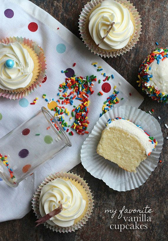 My Favorite Vanilla Cupcakes!  Perfectly fluffy, but not airy.  The perfect base for buttercream!