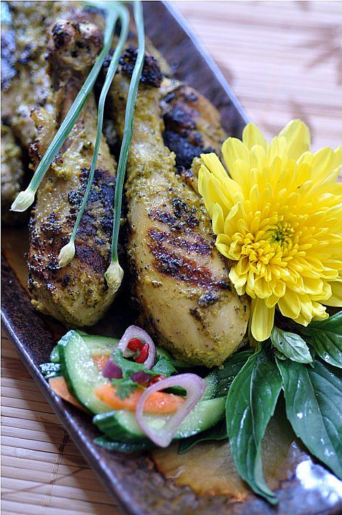 Grilled Coconut Chicken with Lemon Basil (Ayam Panggang Sulawesi) recipe - This is an excellent dish to make on hot summer months, and I was able to find all of the ingredients at my local Asian grocers. I grilled for 5 minutes on both sides of the chicken, until the attractive grill marks form! #indonesian #chicken #grilling