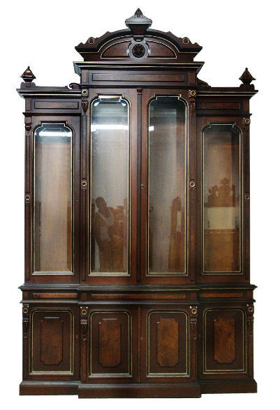 Antique American 19th C. Renaissance Revival four-door walnut bookcase