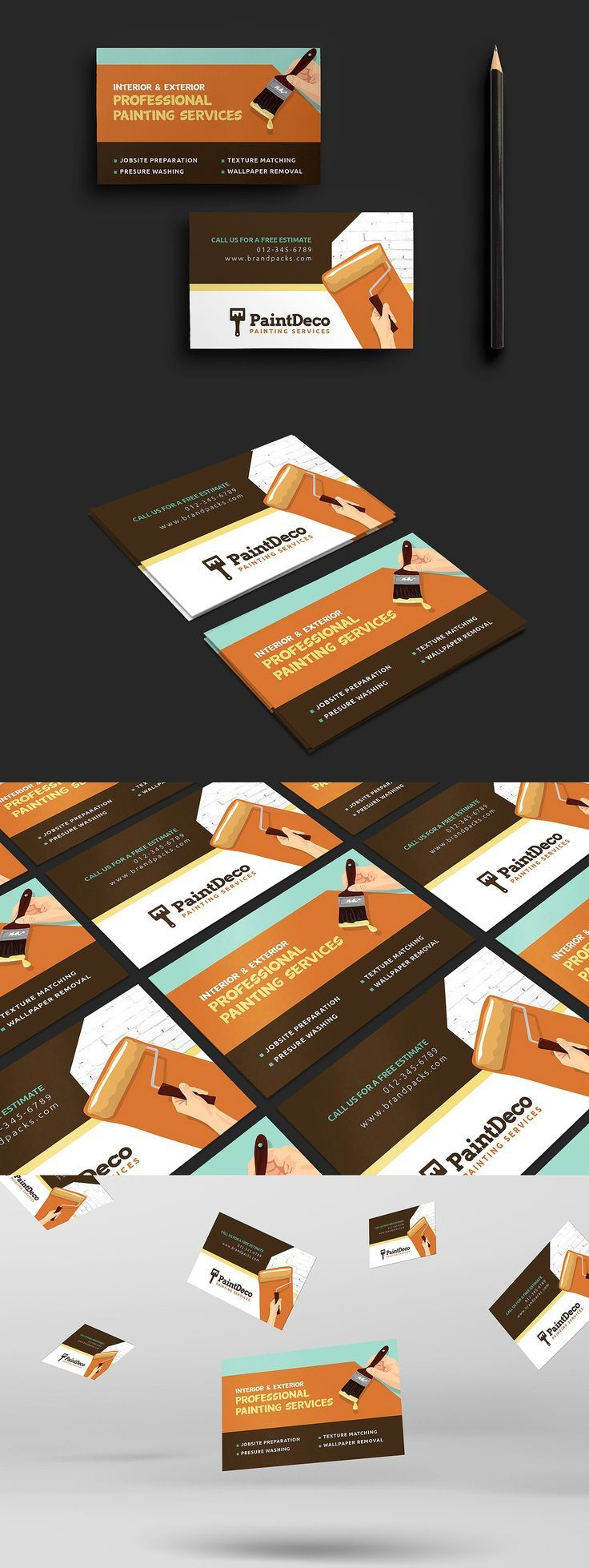 Painter Decorator Business Card Template Psd Business Card Decorator Painter Paint Decorator Business Card Painter Business Card Painter And Decorator