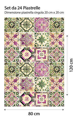PS00061 Adesivi murali in pvc per piastrelle per bagno e cucina Stickers design - Antica Provenza - 24 piastrelle formato 20x20 cm: Amazon.it: Casa e cucina
