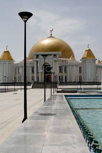 Turkmenbashi Ruhy Mosque in Ashgabat, Turkmenistan is the largest mosque in Central Asia