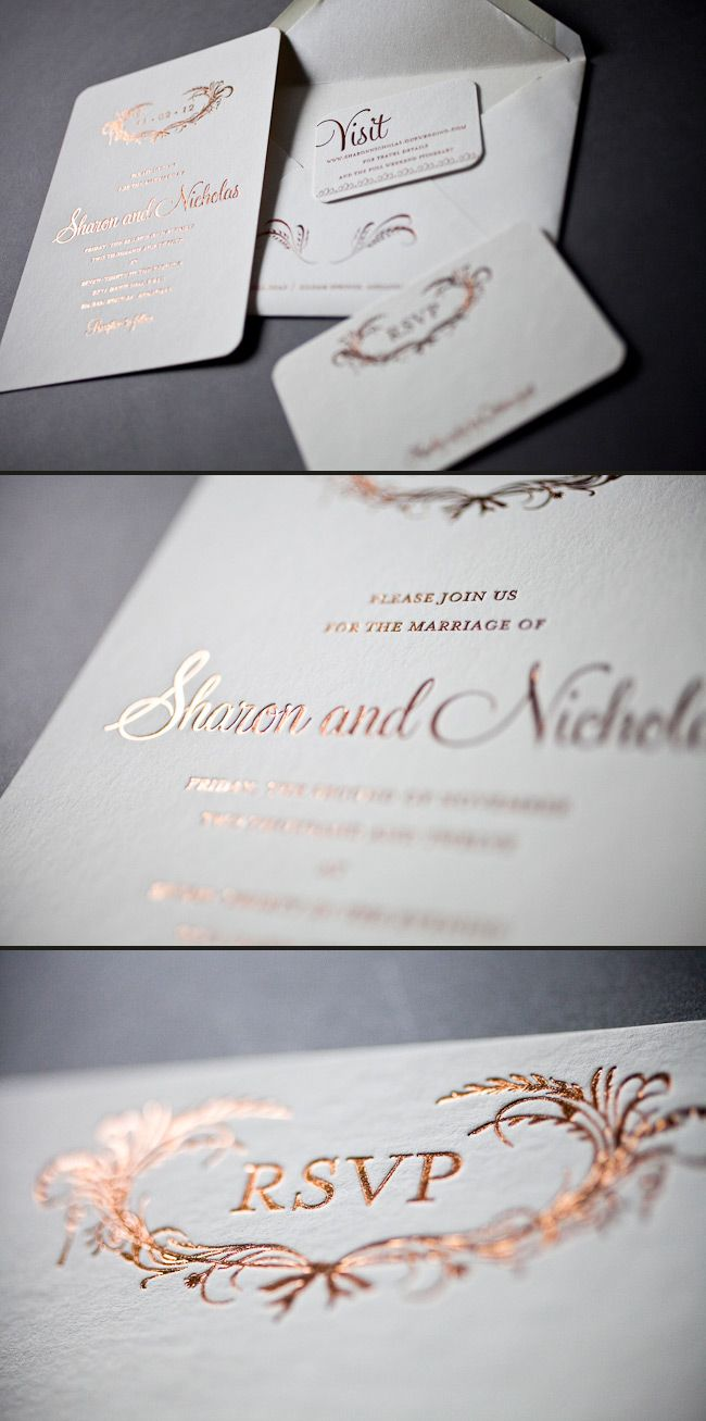 deer hunter wedding invitations%0A Elegant foil wedding invitations in copper shine