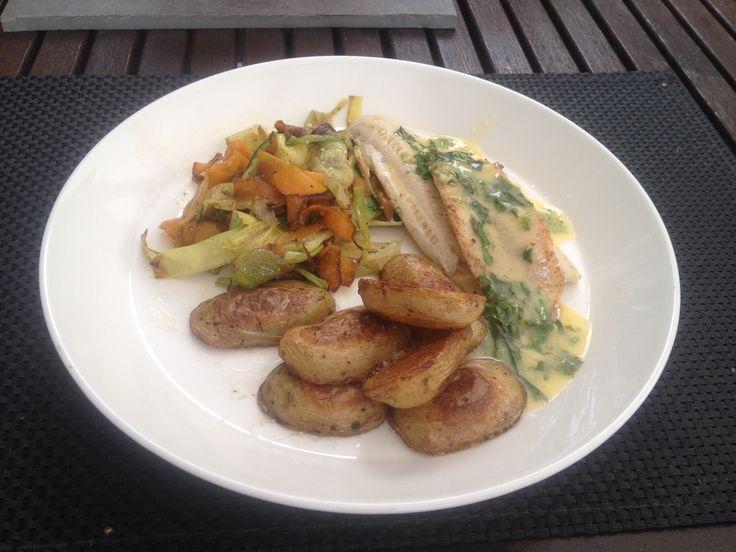 Finnish perch fillet with Beurre Blanc, duck fat roast potatoes and carrot-zucchini-leek tagliatelle.