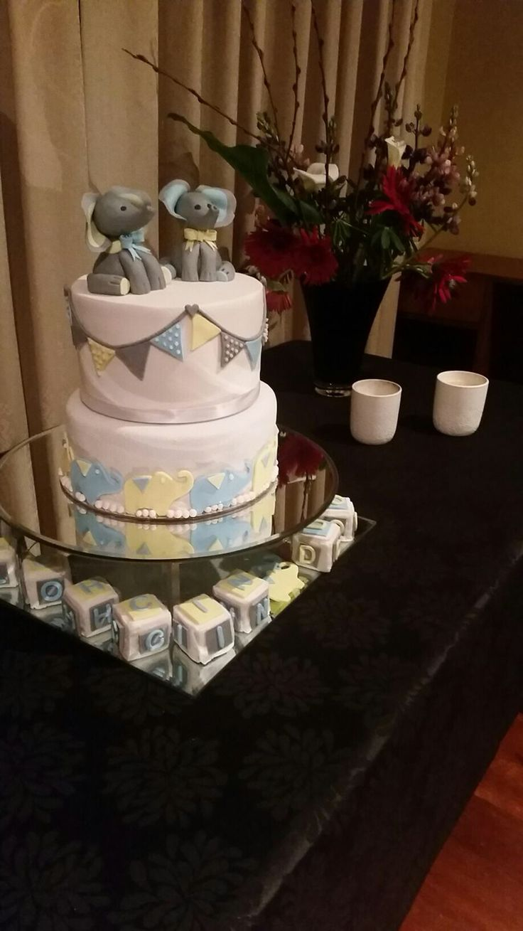 Twin boys Christening cake