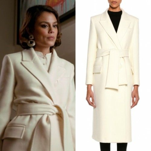 Cristal Flores wears these white tailored wool Tom Ford coat on Dynasty 1x10