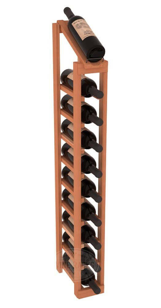The column design stores a large quantity of wine bottles vertically. This can be accomplished via floor standing construction or wall-mounted racks.