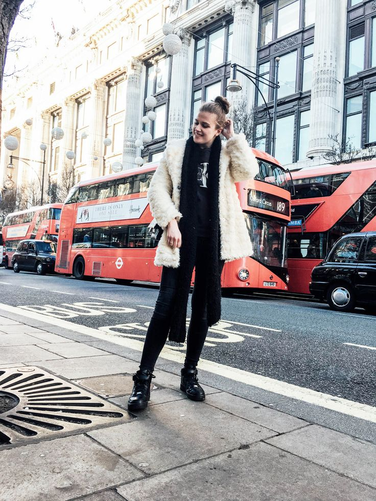 Posing on Oxford Street | Streetstyle London | Forever 21 coat, Nike sneakers, Chanel Classic bag, Zara scarf, Calvin Klein sweater | Copyright ilumuoti | #outfit #style #streetstyle #ootd #look #winter #london