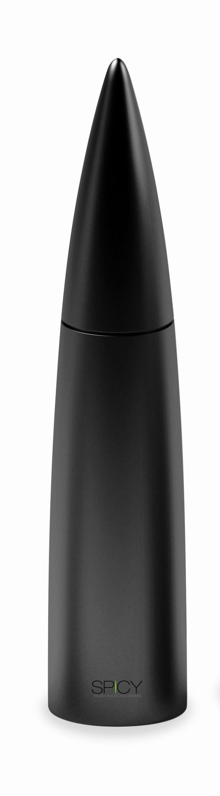 "Spicy Piperis Salt/Peppermill – Black  Product Description  Peppermill with long-life ceramic mechanism. Also suitable to grind salt, spices and coffee. Soft-touch finish. Height:12.5″ Width: 2.5"" Hand wash recommended Designed by Federico Arquint"