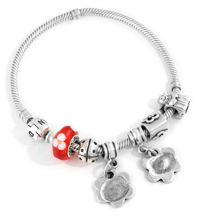 Pandora charm bracelet with flower fingerprint charms from Smallprint. www.smallprint.com