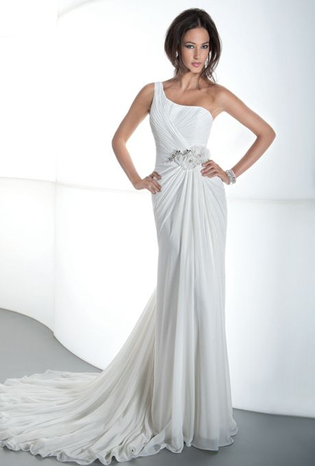 Brides: Demetrios - Destination Romance . One shoulder, chiffon with asymmetrical ruching and inverted draping. Back features a draped skirt with attached train. Belt with flowers and clusters of beading sold separately. Available in ivory and white.