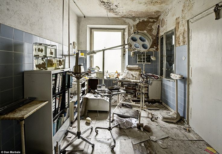 Waiting patients: Spiral folders, scales and more kidney samples take up space in this room where patients must have regularly seen their doctor. Abandoned doctor's house, Germany.