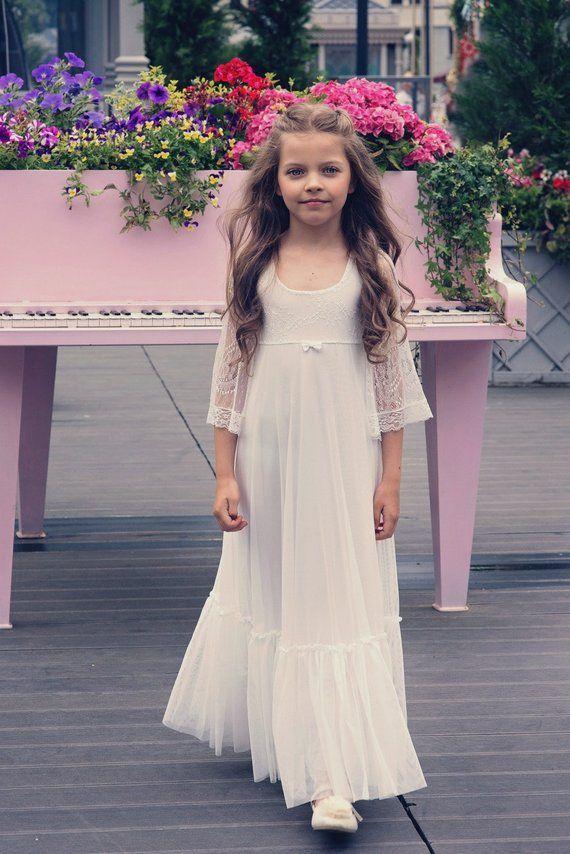 e1d07f89d2e First Communion Dress Flower Girl Off White Lace Dress