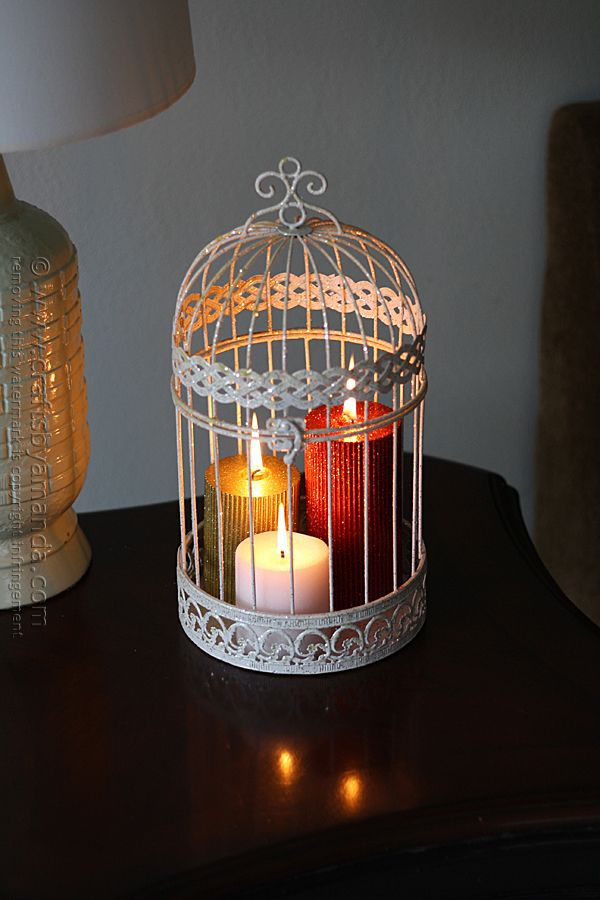 Glitter Candles in a Bird Cage @Amanda Formaro Crafts by Amanda