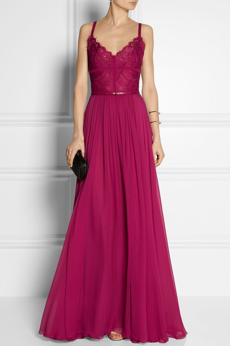Elie Saab | Georgette and lace gown | NET-A-PORTER.COM