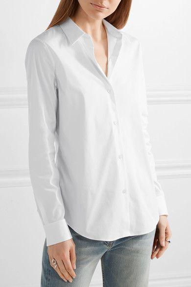 Theory - Tenia Stretch Cotton-blend Piqué Shirt - White -