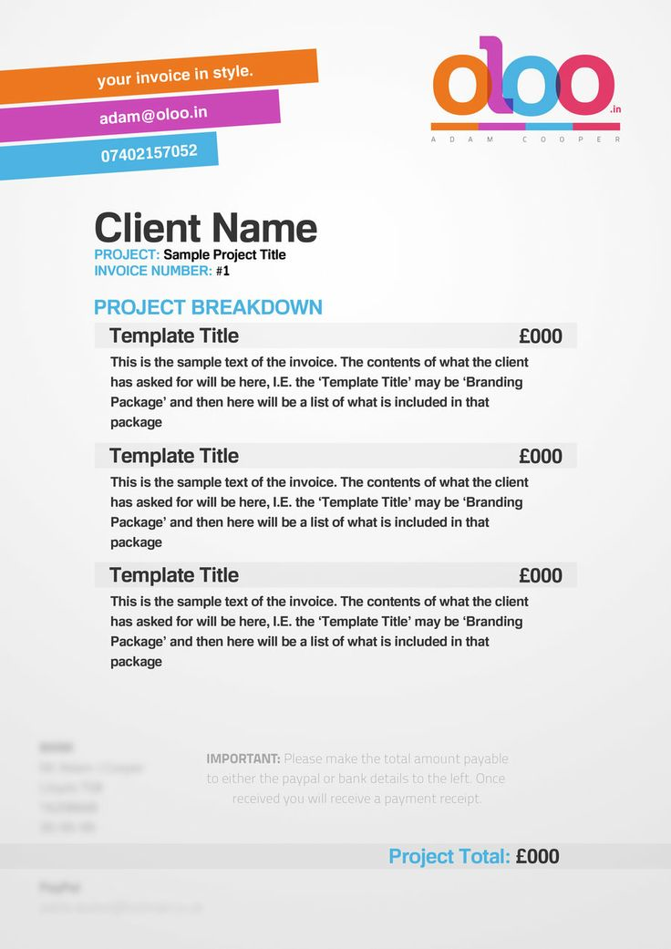 13 best BUSINESS Invoices images on Pinterest Invoice design - graphic design invoice sample