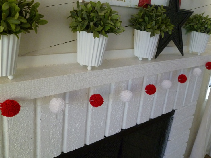 Candy Cane - Christmas Pom Pom Garland. $14.00, via Etsy.