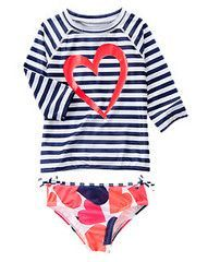 Striped Heart Rash Guard Set
