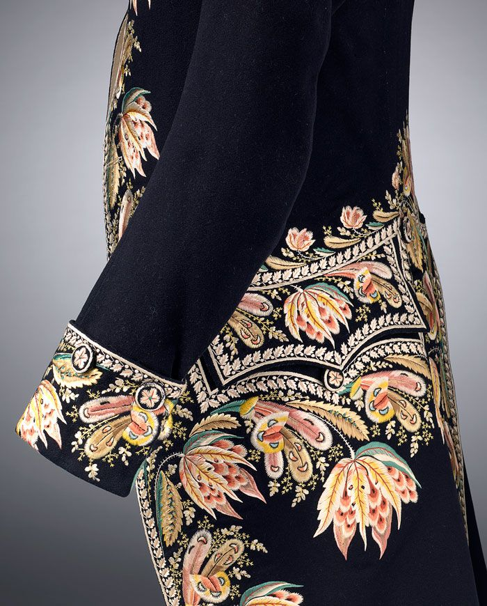 Detail embroidery to cuff, coat pocket and Frock coat, France, c.1810, wool, silk wood. National Gallery of Victoria, Melbourne, Australia