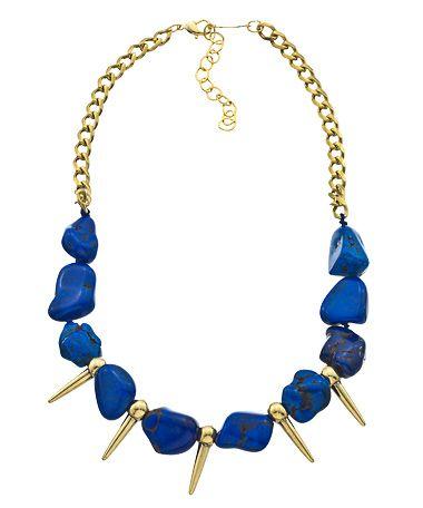 A.V. Max Gold Spike and Lapis Mini Bib Necklace #maxandchloe
