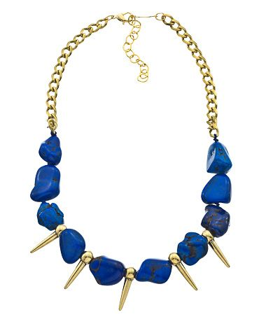 A.V. Max Gold Spike and Lapis Mini Bib Necklace #maxandchloe
