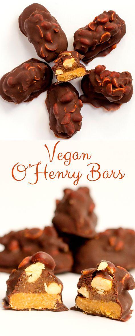 Vegan O'Henry bars, made with date caramel, peanut butter, cashews and homemade chocolate. A guilt free dessert #Vegan #glutenfree.