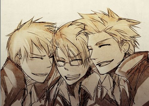 The Awesome Trio! Hetalia America, Denmark, and Prussia~! >:D
