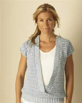 This simple, lacy top utilizes two of spring's prettiest shapes: a deep V-neck and sweet cap sleeves. Sizes XS - 5XL (bust 28 - 62 in). Shown in Bernat Bamboo #92130 Water, crochet using sizes 6 mm (U.S. J or 10) and 6.5 mm (U.S. K or 10-1/2) hooks.