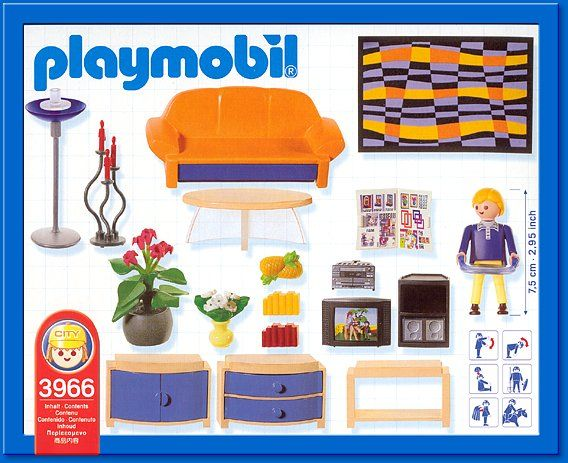 Playmobil set 3966 family room playmobil mighty for Wohnzimmer playmobil