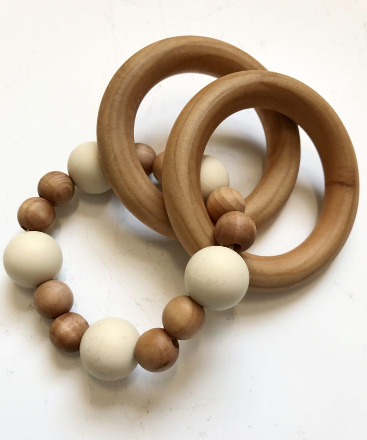 Silicone + Wood Round Rattle Teether