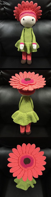 Gerbera Gemma flower doll made by Estrella R M - crochet pattern by Zabbez