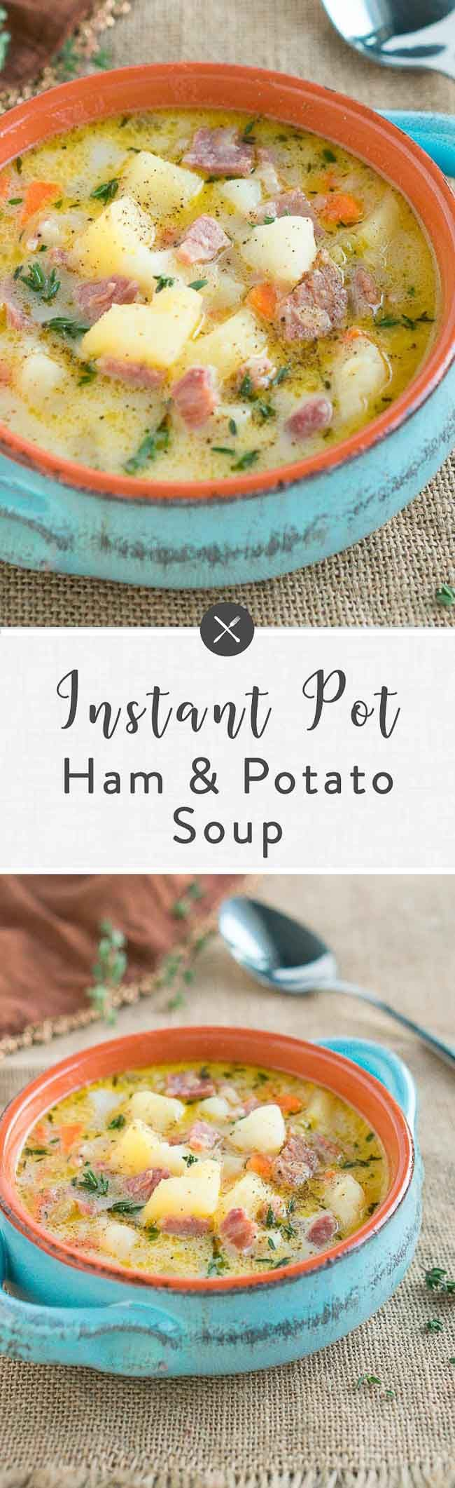 Delicious and hearty Instant Pot Ham and Potato Soup made with leftover ham and ham bone and russet potatoes. Made in the Instant Pot for less than 30 minutes. Perfect for cold weather! #soup #winter #ham #Easter #comfortfood via @NeliHoward