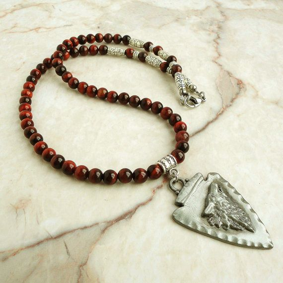 Mens Native American Beads: Red Tiger Eye Necklace For Men, Wolf, Tribal, Native