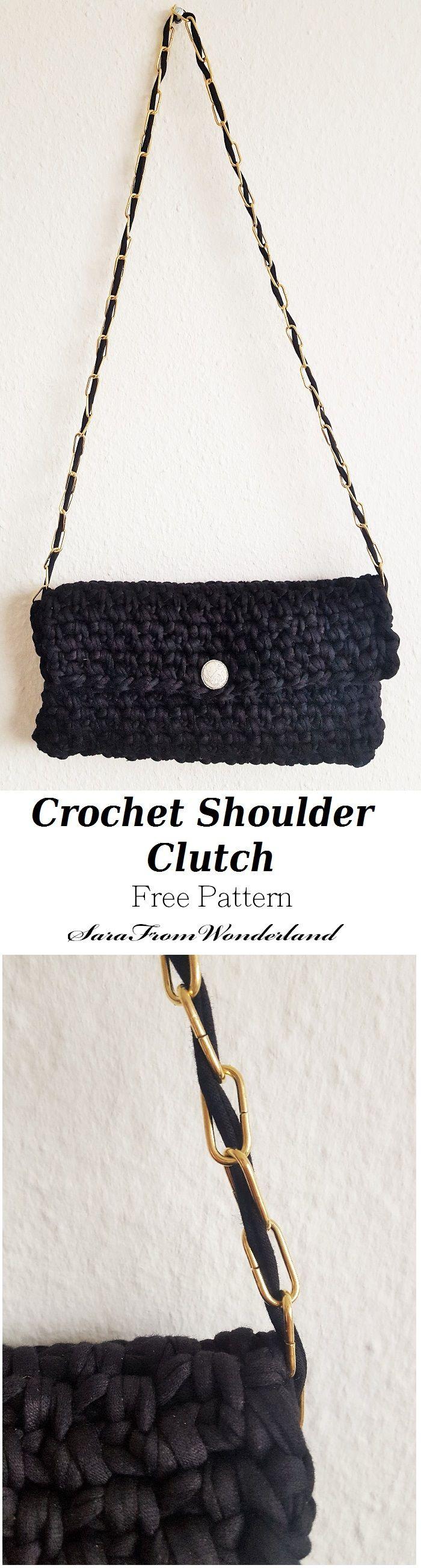 Crochet this elegant shoulder clutch from SaraFromWonderland