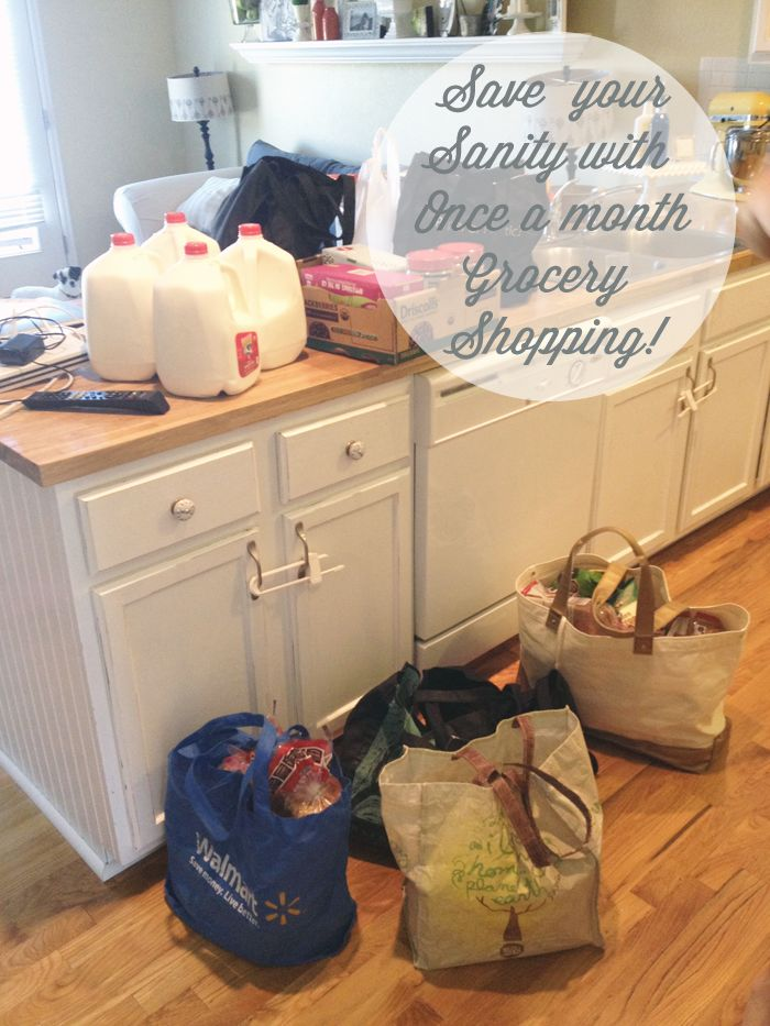 Once a month grocery shopping! Save your sanity and only shop once a month! HandmadeintheHeartland.com