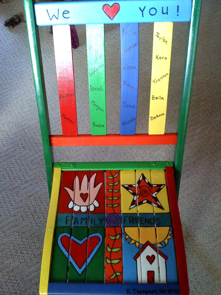 An old antique folding chair made into a retirement gift for a fellow teacher.