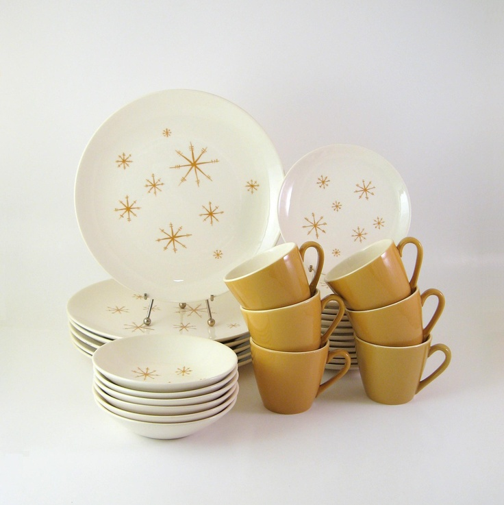 Vintage Star Glow Dinnerware Set, Service for 6, Royal China Mid-Century Modern Atomic Dinnerware 1960's. Found at WoolTrousers on Etsy.