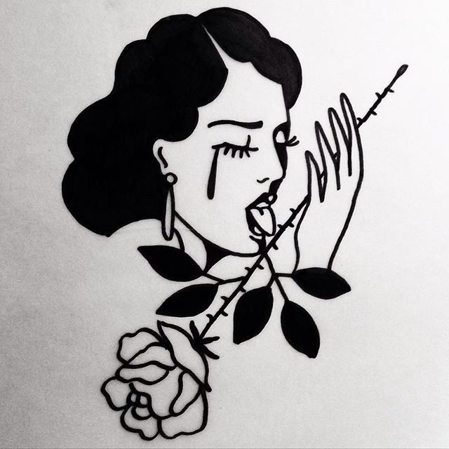 Tradition pin up woman tearing with thorny rose tattoo design