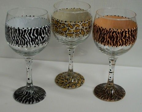 Wine Glass Painted Cheetah Print by OriginalBridalHanger on Etsy