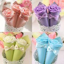 100 x Ice Cream Cone Holder Strass Bowknot del Fiore della Rosa Caramella Scatole Wedding Table Decor Wedding Party Favor Gift Box(China (Mainland))