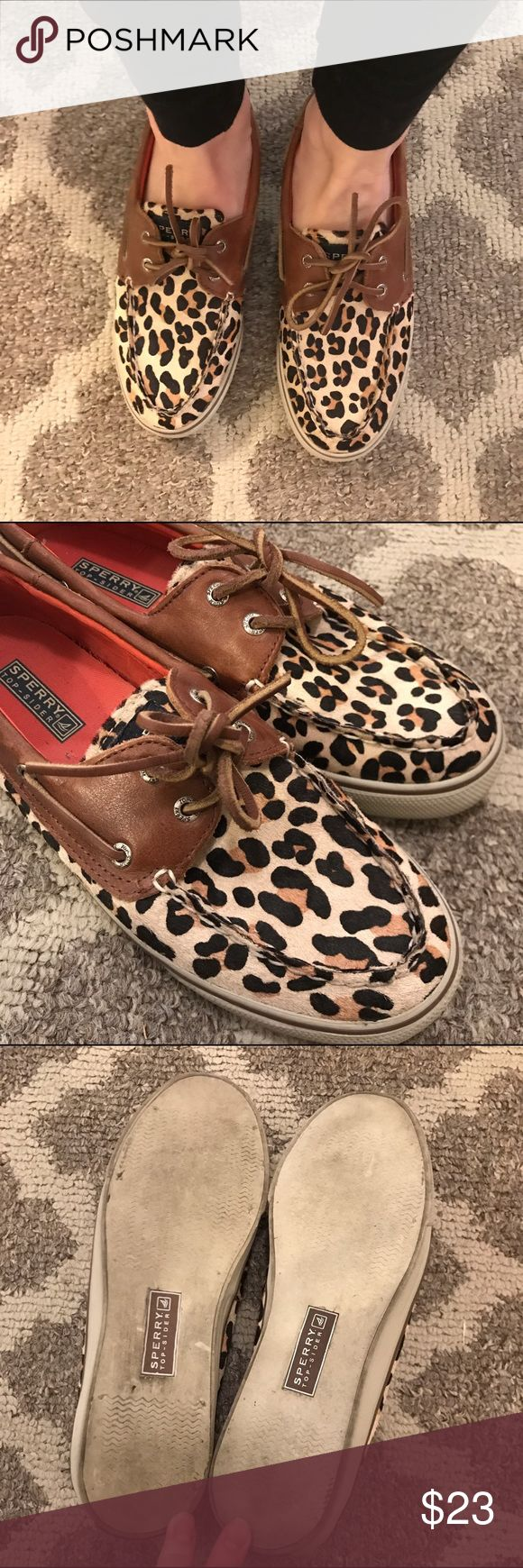 Leopard sperrys size 7.5 Cute leopard fur sperrys with leather. Show some wear on bottoms but the rest of the shoe looks perfect! Sperry Shoes Flats & Loafers