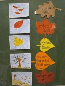 Reim: Falle, falle, falle, rotes Blatt gelbes Blatt, bis der Baum kein Blatt mehr hat, abgefallen alle..♔..