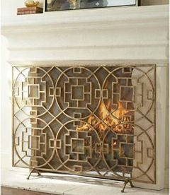 asian inspired fireplace screen gold-leaf finish