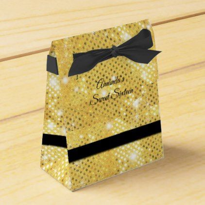 Gold Glitter Sparkle Black Ribbon Sweet Sixteen Favor Box - glitter gifts personalize gift ideas unique