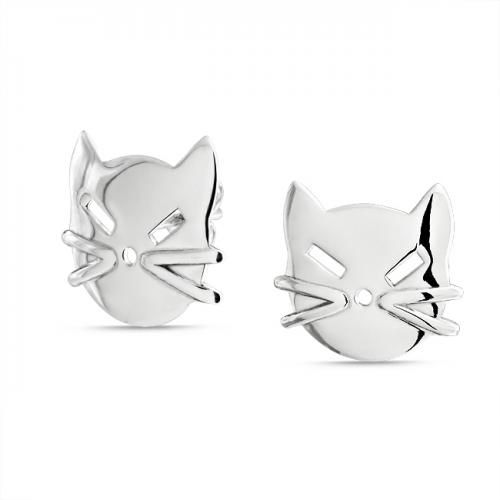 Kitty Cat Face 925 Sterling Silver Stud Earrings
