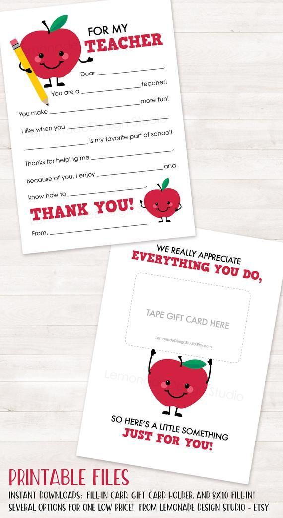 PRINTABLE Teacher Thank You Card, End of Year Teacher Gift Card Holder Teacher Appreciation Printabl