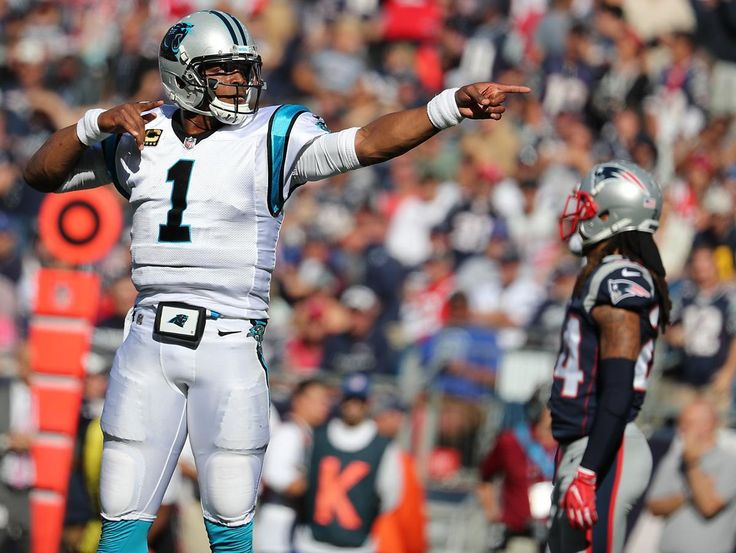 Foxborough, MA 10/01/17 Carolina Panthers quarterback Cam Newton reacting after 13-yard run picking up the first down against the New England Patriots during third quarter action on Sunday, Oct. 1, 2017 at Gillette Stadium. (Matthew J. Lee/Globe Staff)